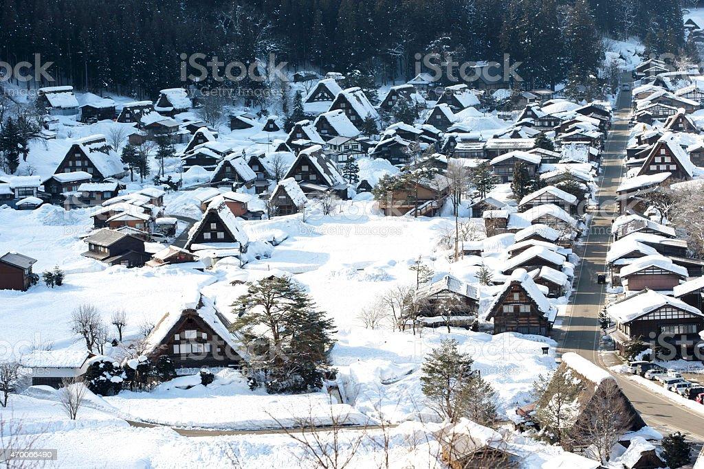 Shirakawa-go in winter season, Japan stock photo