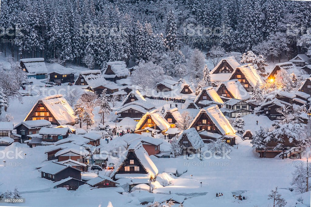 Shirakawago light-up stock photo