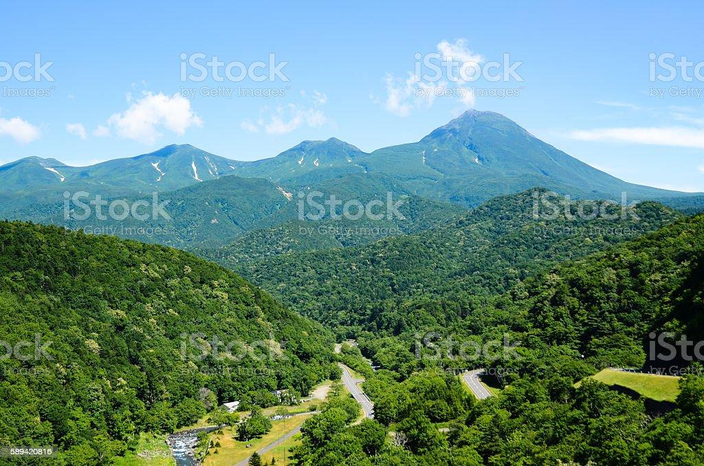 Shiretoko Mountain Range in Summer, Hokkaido, Japan stock photo