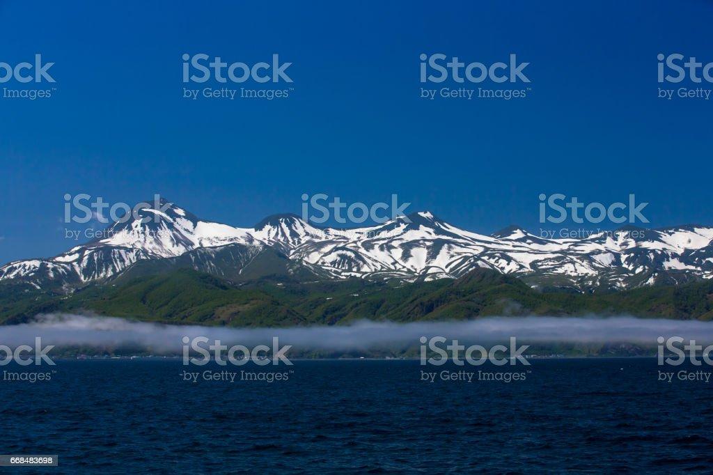 Shiretoko mountains stock photo