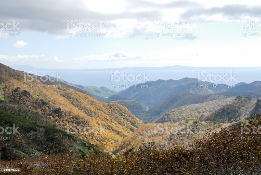 Shiretoko Pass in Autumn and Kunashiri Island, Hokkaido, Japan stock photo