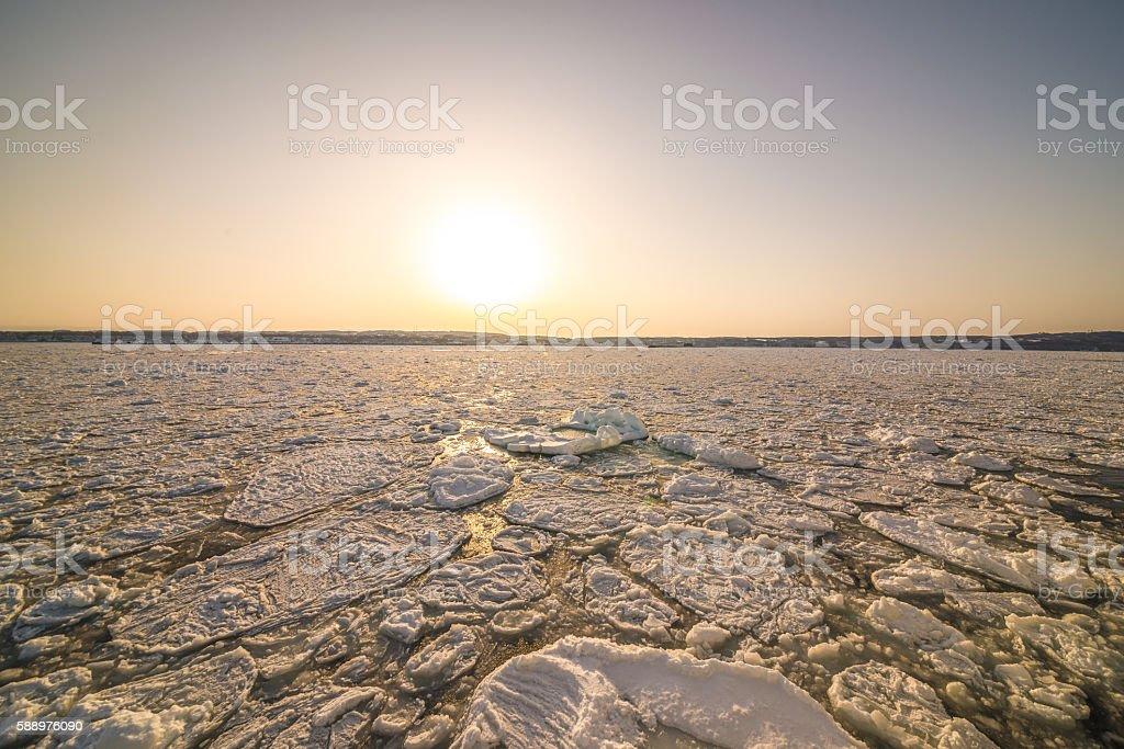 Shiretoko sunset stock photo
