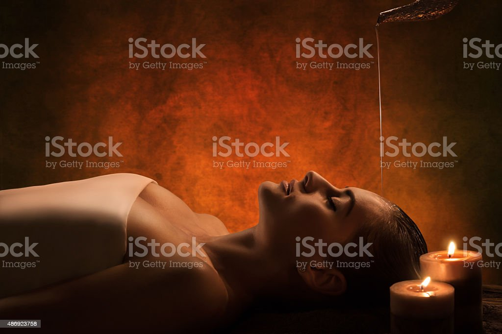 Shirodhara massage stock photo