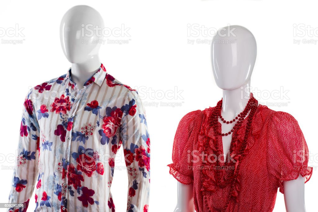 Shirt and sarafan on mannequins. stock photo