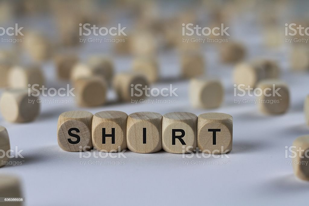 shirt - cube with letters, sign with wooden cubes stock photo