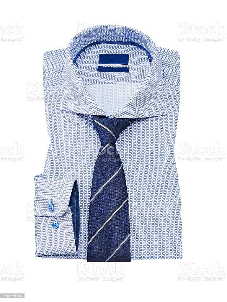 Shirt folded flat, isolated on white stock photo