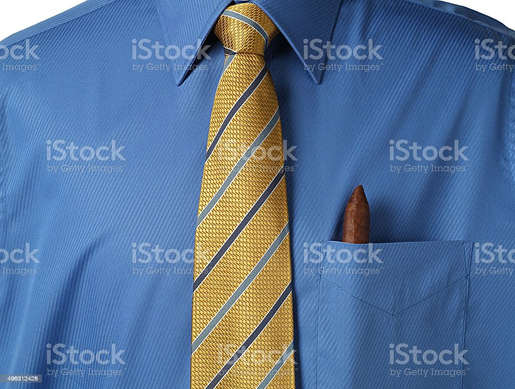 shirt with cigar in pocket stock photo