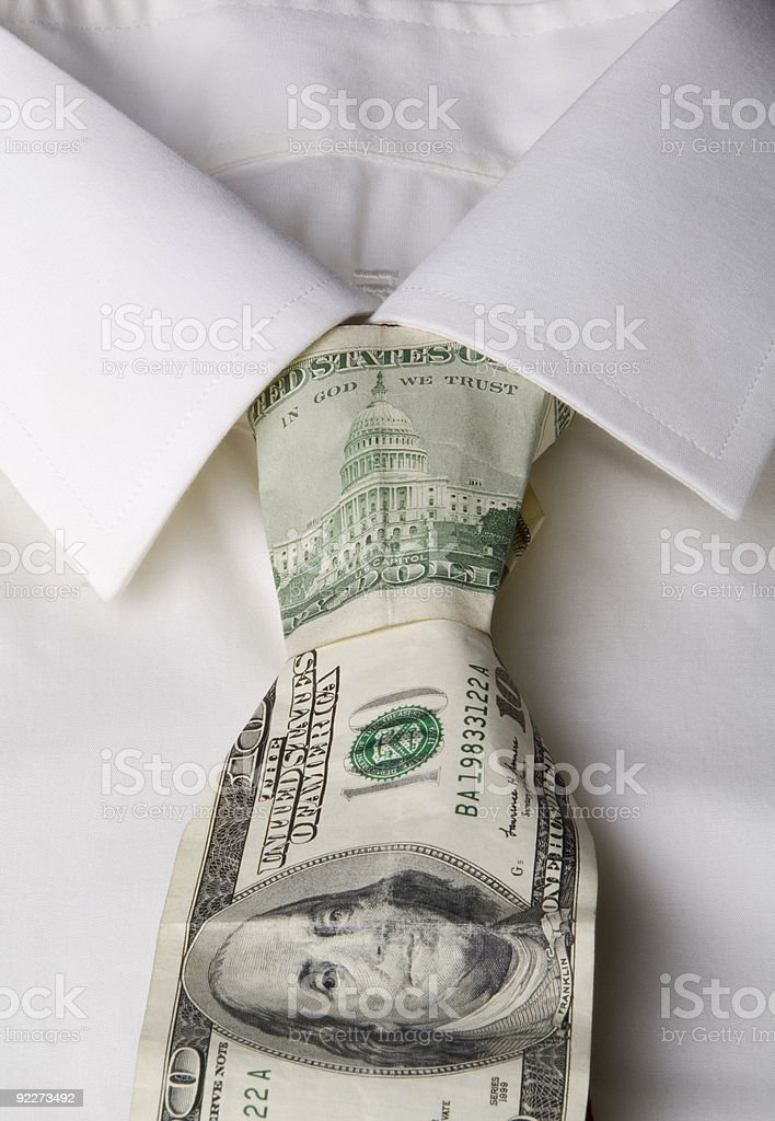 Shirt with tie made from US currency, close-up royalty-free stock photo
