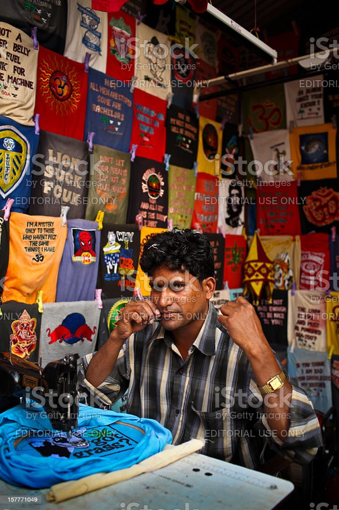T shirt worker in Goa royalty-free stock photo