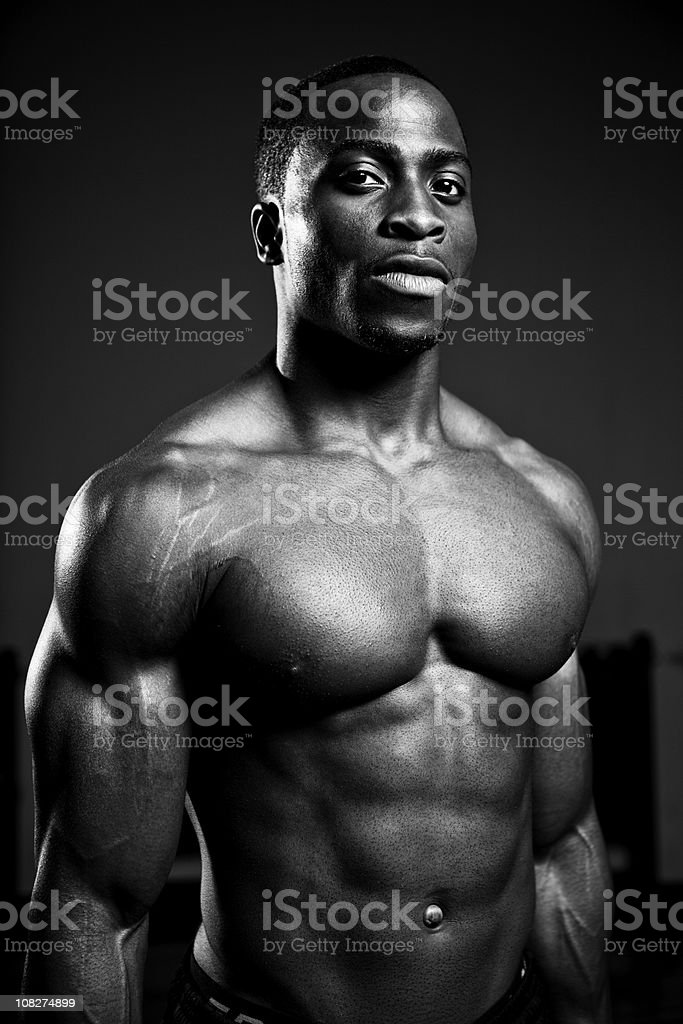 Shirtless African American Portrait, Black and White royalty-free stock photo