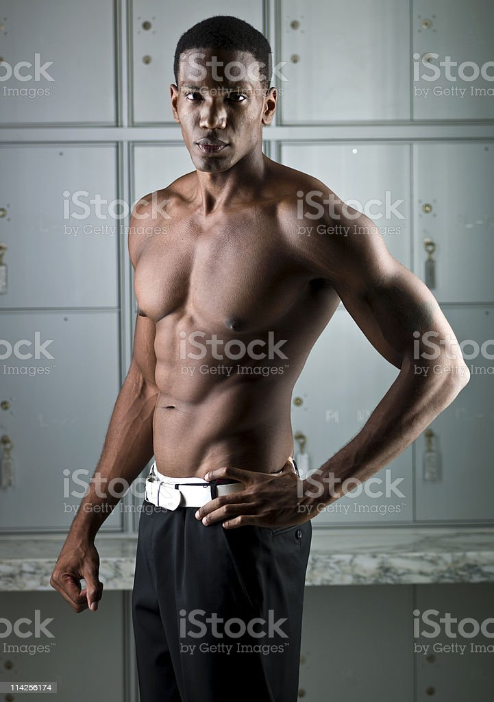 Shirtless african descent man royalty-free stock photo