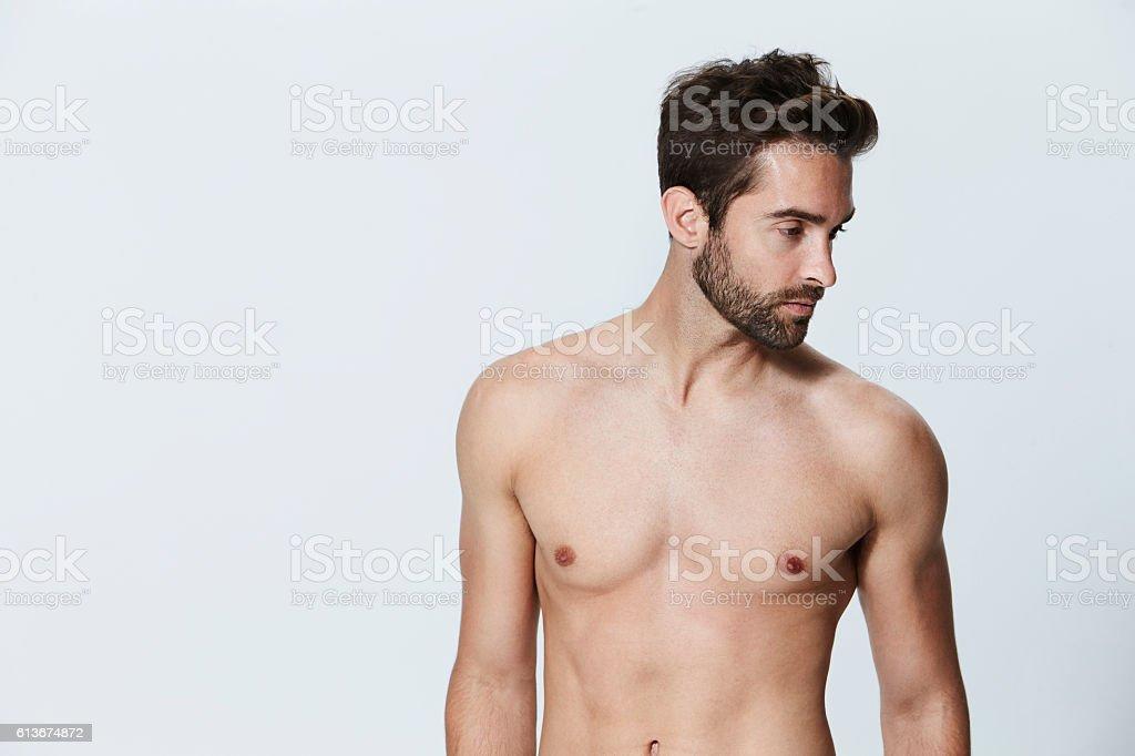 Shirtless dude stock photo