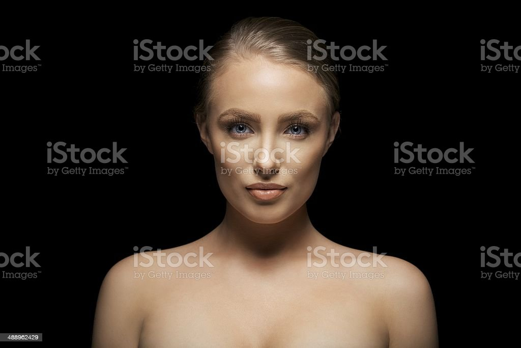 Shirtless female fashion model stock photo