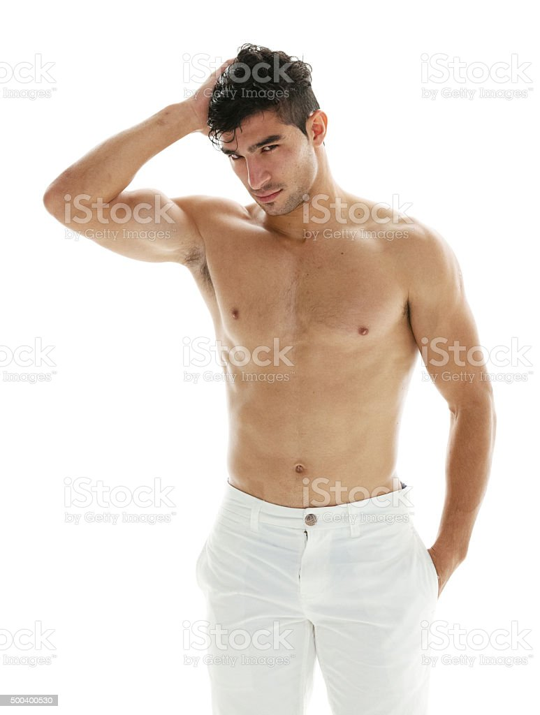 Shirtless man posing stock photo