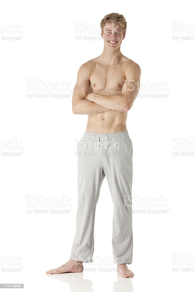 Shirtless man with arms crossed royalty-free stock photo