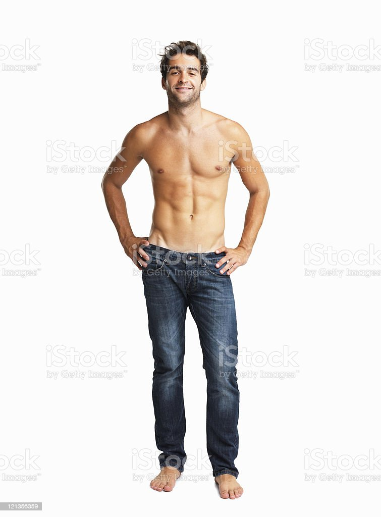Shirtless sexy man posing stock photo