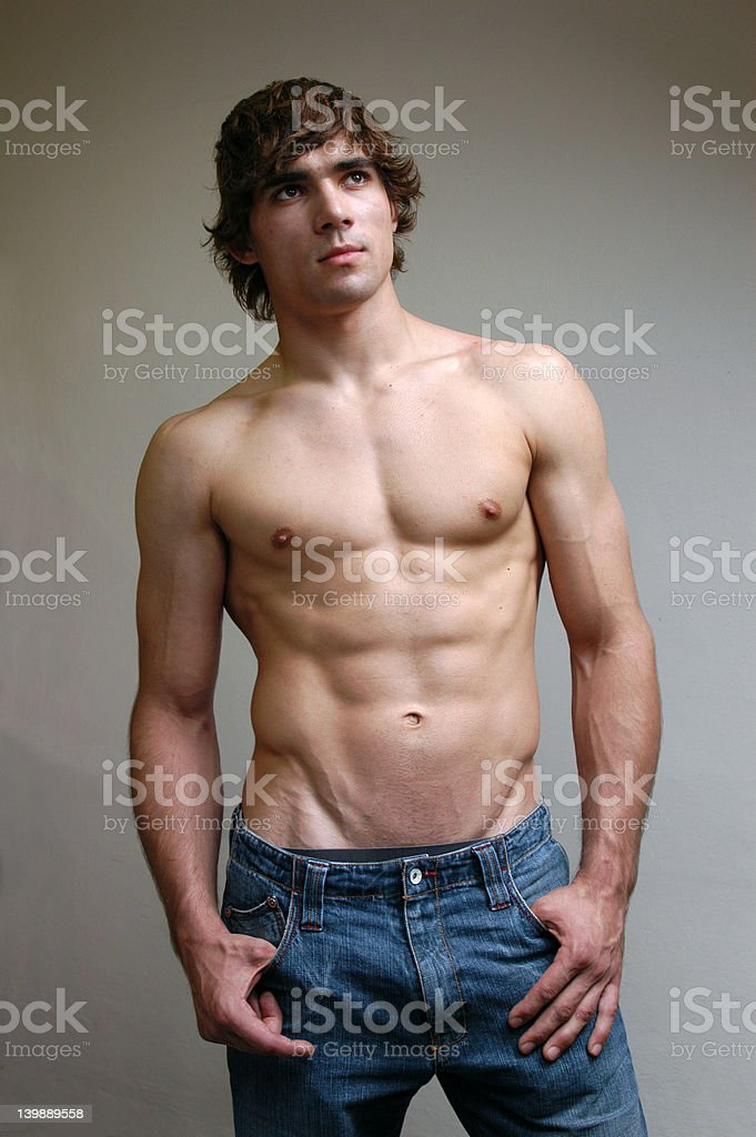 Shirtless Young Man royalty-free stock photo