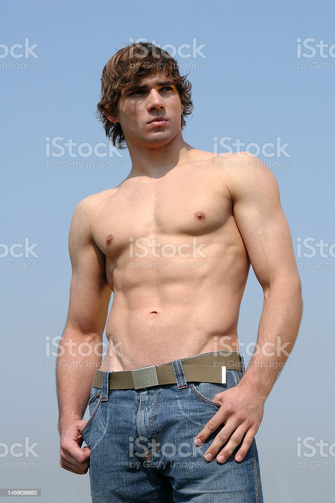Shirtless Young Man royalty-free stock photo