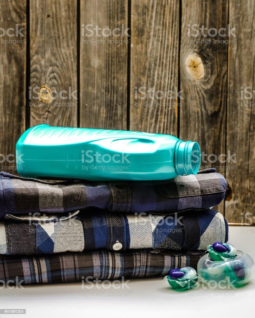 shirts and washing powder stock photo