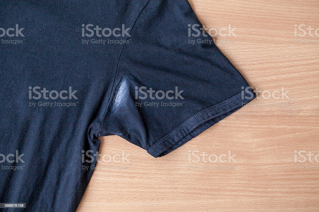 Shirts dirty caused by roll- on deodorant stock photo