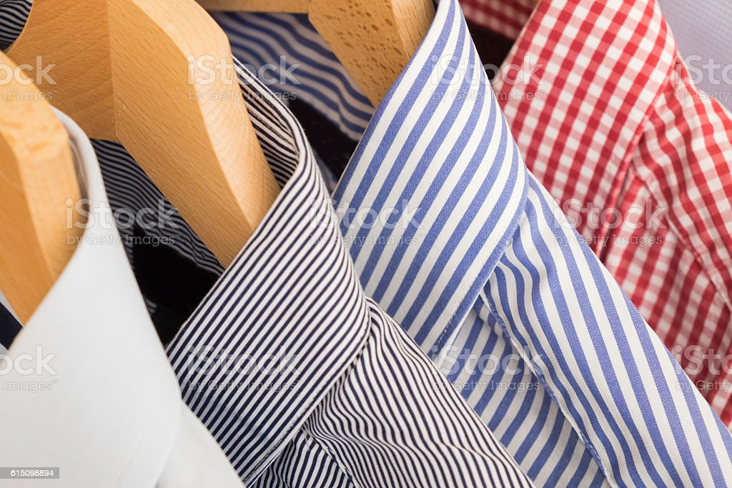 Shirts in several colors and textures stock photo