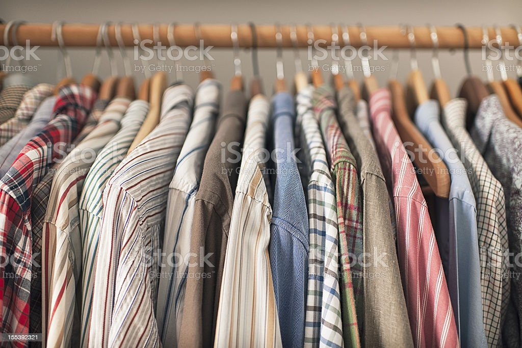 Shirts on Hangers stock photo