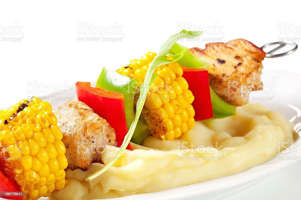 Shish kebab and mashed potato royalty-free stock photo