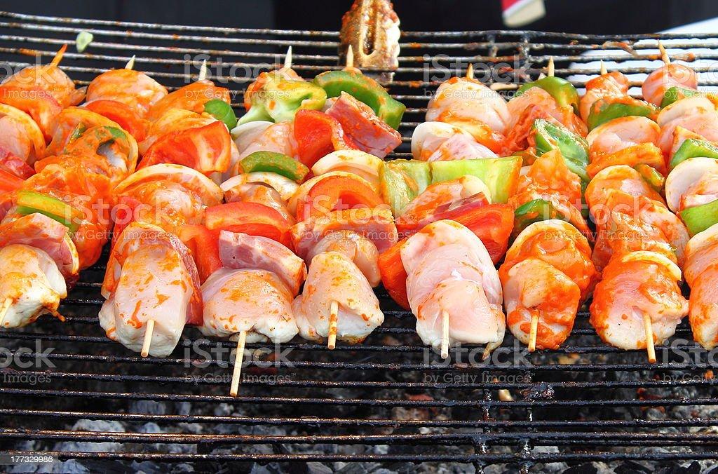 Shish kebab on skewers royalty-free stock photo
