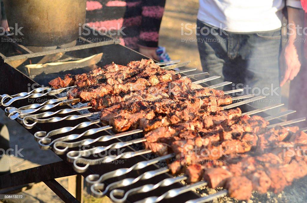 Shish kebab on skewers. stock photo