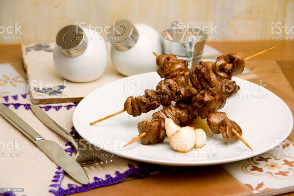 shish kebab with garlic royalty-free stock photo