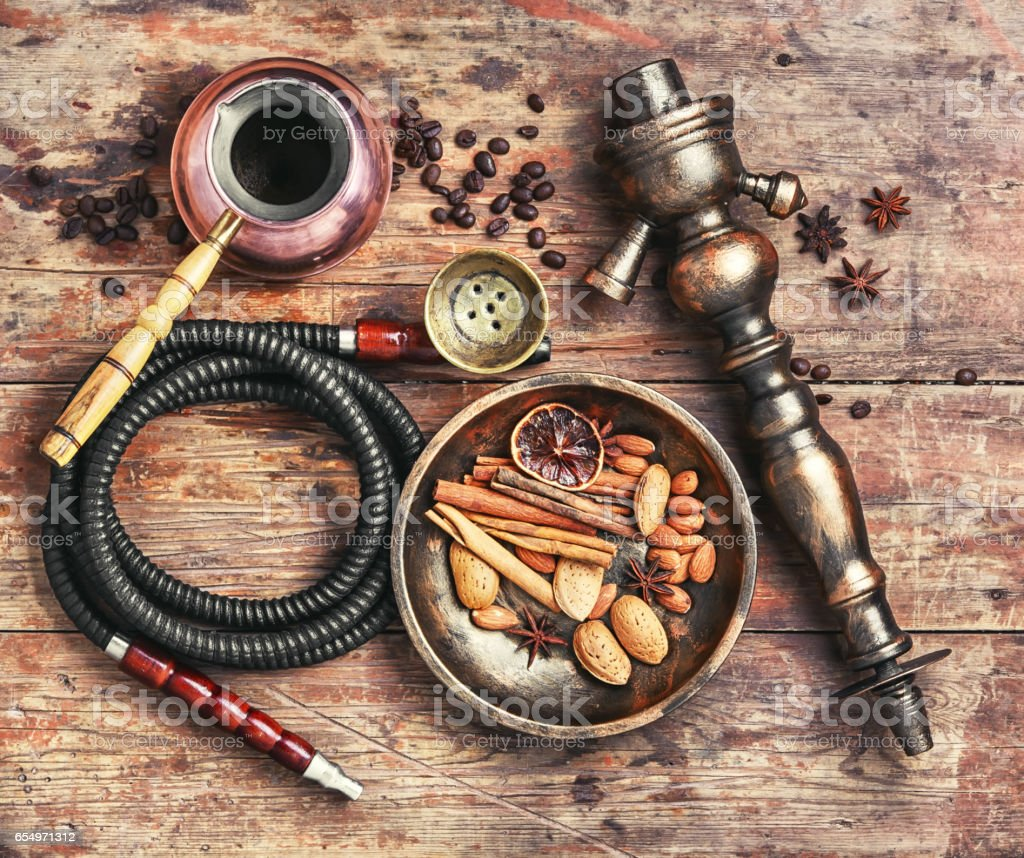 Shisha with coffee and spices stock photo