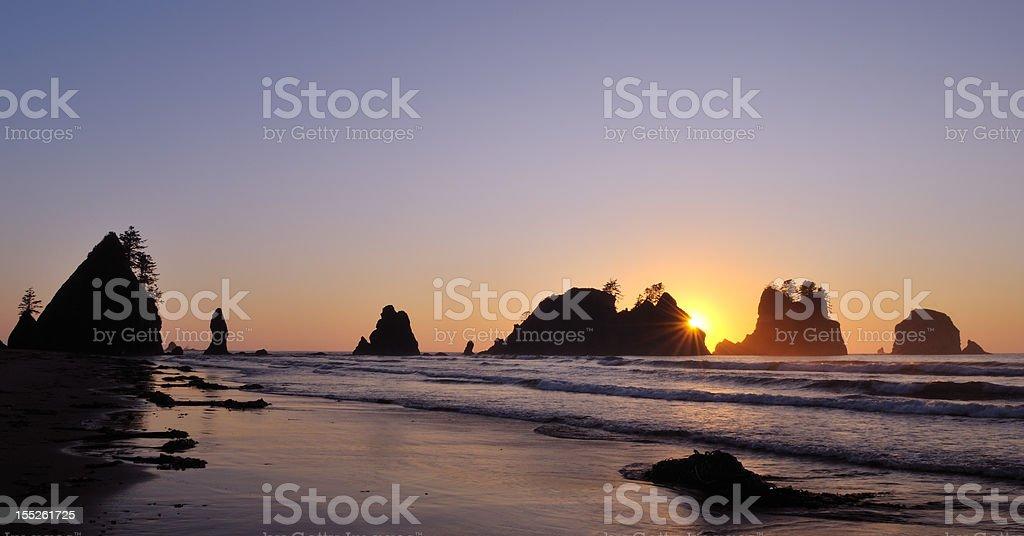 shi-shi beach sunset stock photo