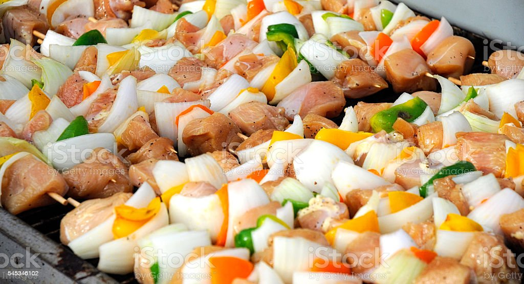 Shishkabob Meat And Vegetables On Barbeque Grill stock photo