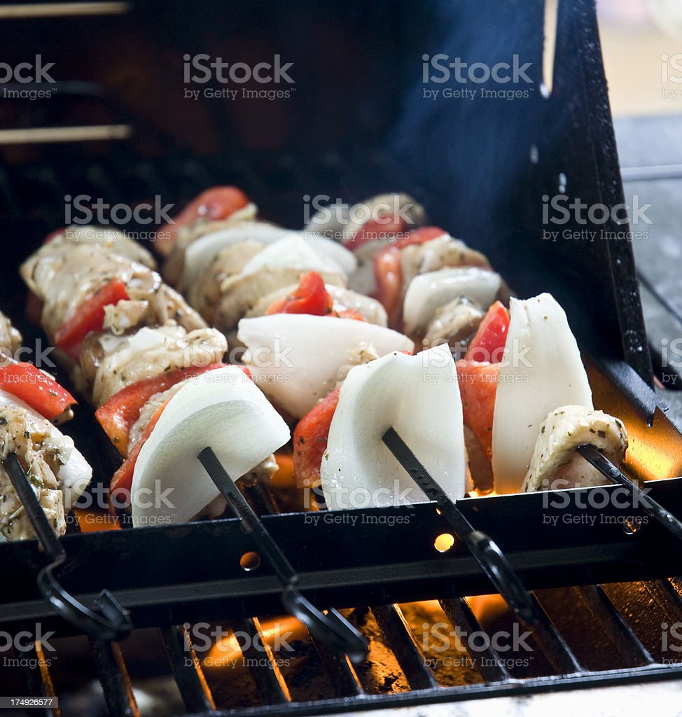 Shiskabob Macro On Outdoor Barbique Grill With Flames stock photo
