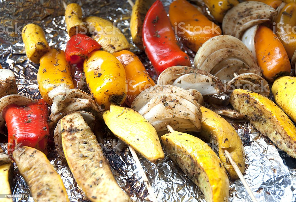 Shiskabob With Red Orange Yellow Peppers And Onions stock photo