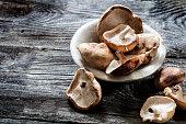Shitake mushrooms set on genuine old copy space