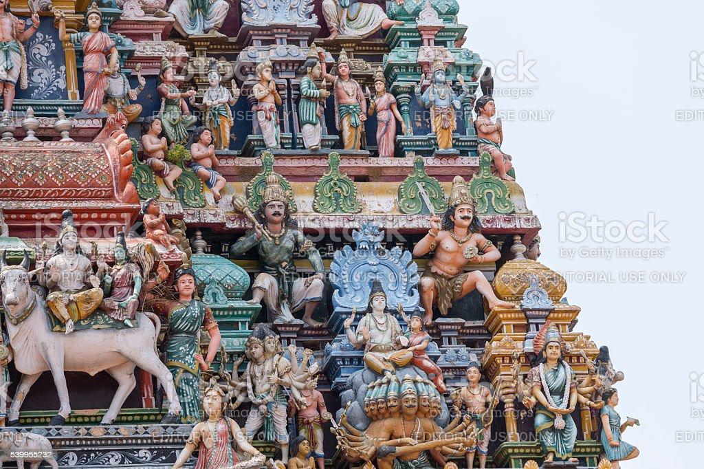 Shiva and Parvati on Kailash at Kottaiyur gopuram. stock photo