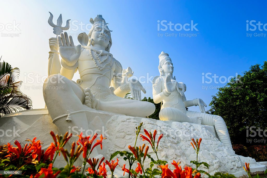 Shiva and Parvati on top of the Kailasagiri hill, Vizag stock photo
