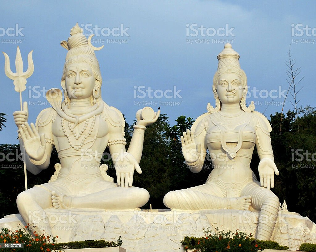 shiva and parvati royalty-free stock photo