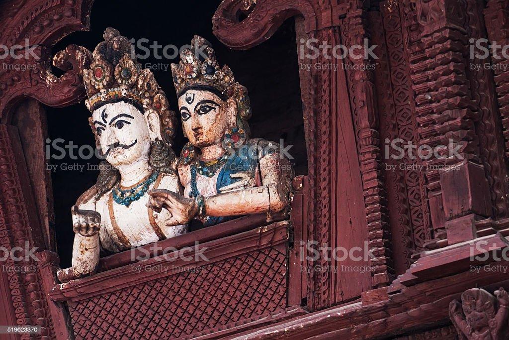 Shiva and parvati statue at Basantapur Durbar Square stock photo