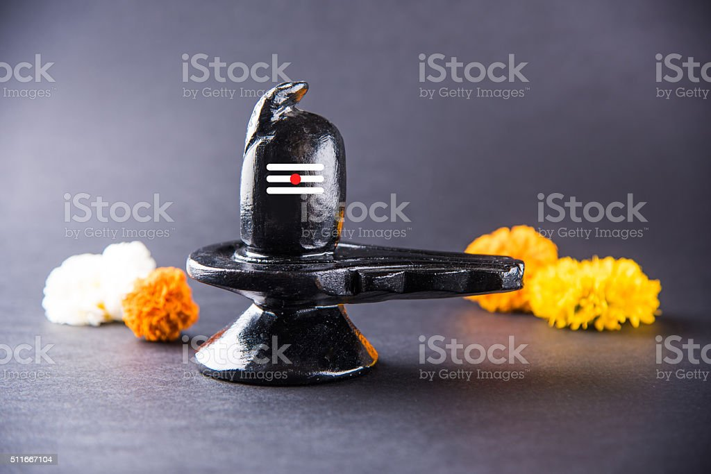 Shiva Linga made up of black stone, mahashivratri stock photo