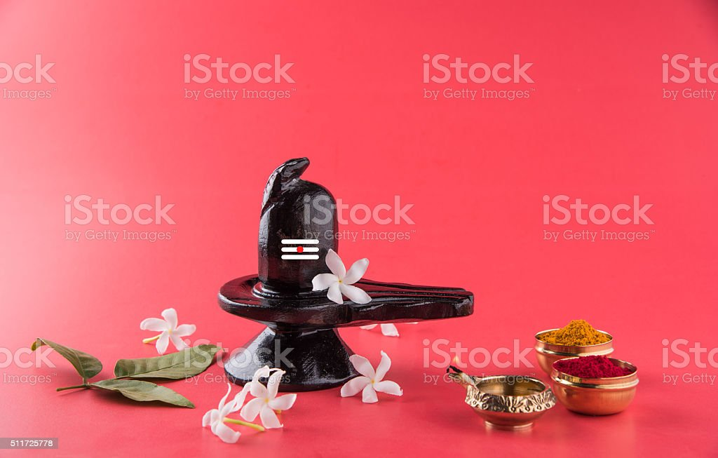 Shiva Linga made up of black stone, mahashivratri stock photo