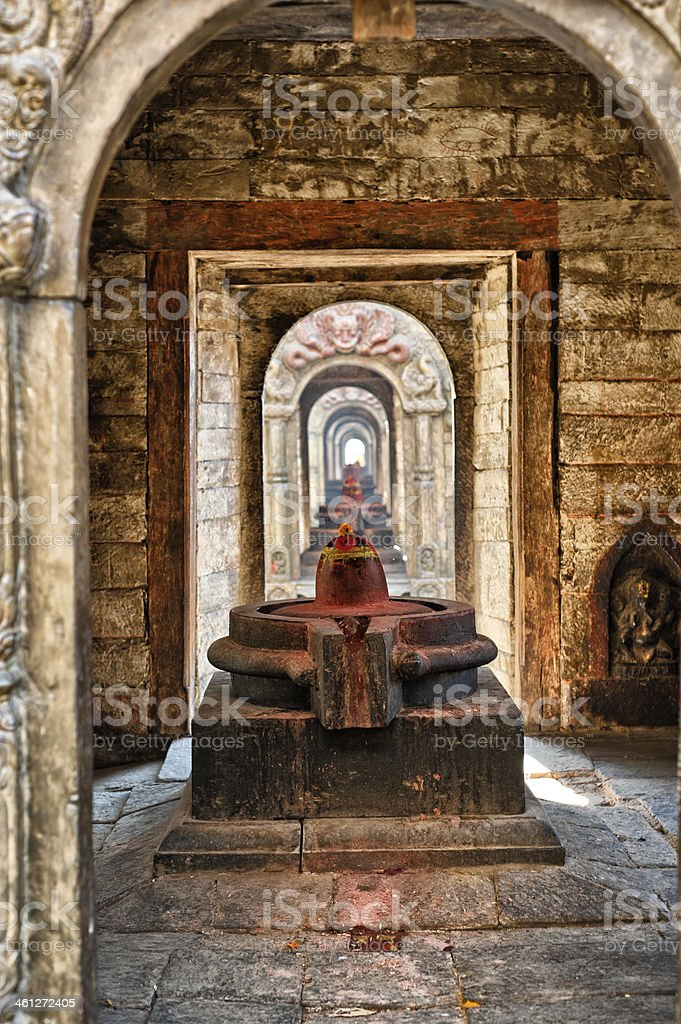 shiva lingam of Pashupatinath temple stock photo