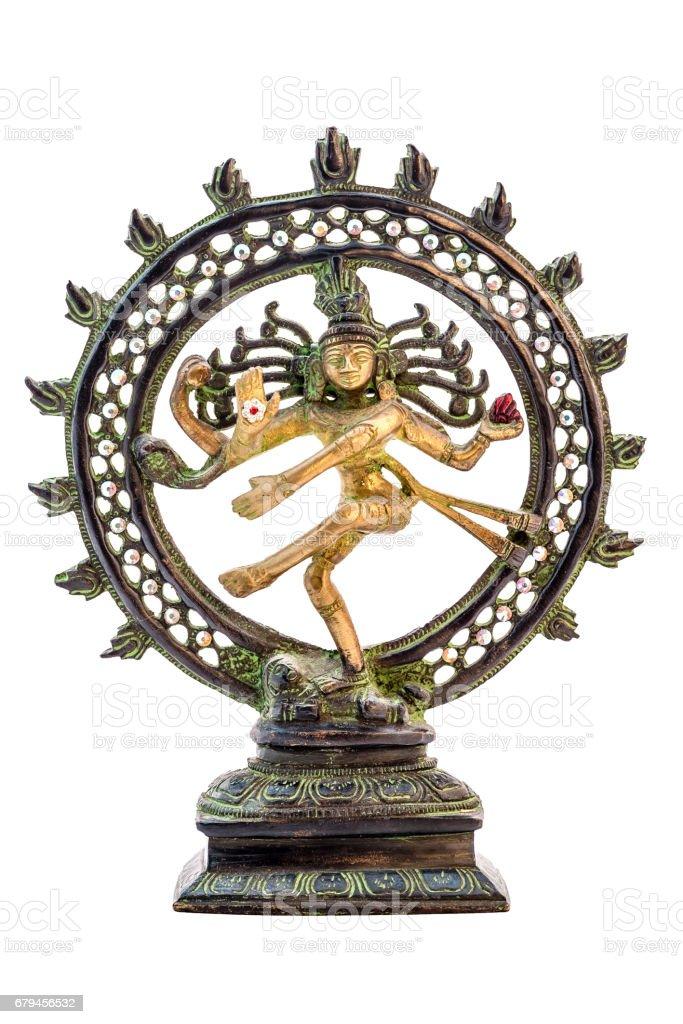 Shiva Nataraja statue on white background. stock photo