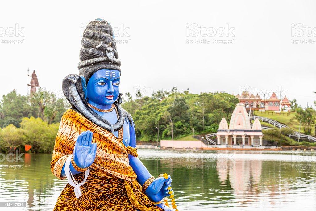 Shiva statue and Hindu temple at Grand Bassin Lake, Mauritius stock photo