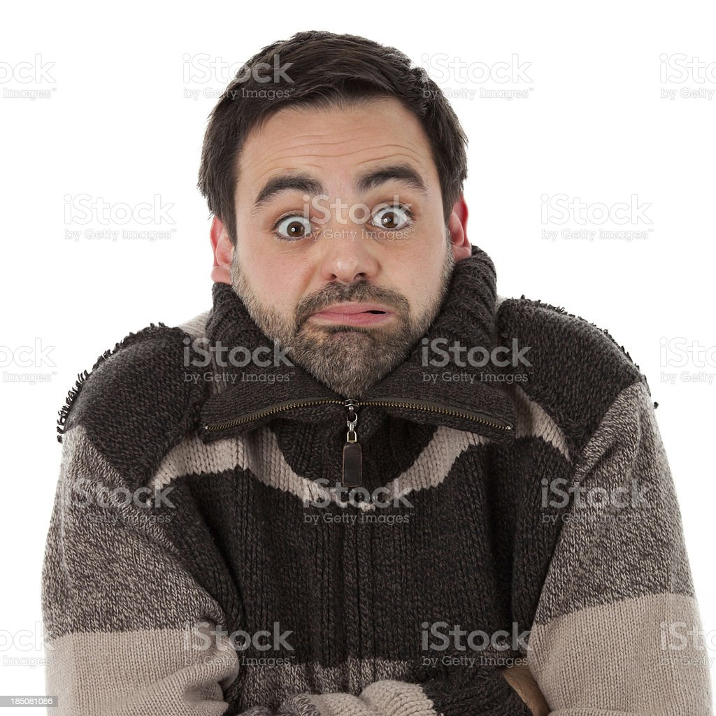 Shivering and having cold stock photo
