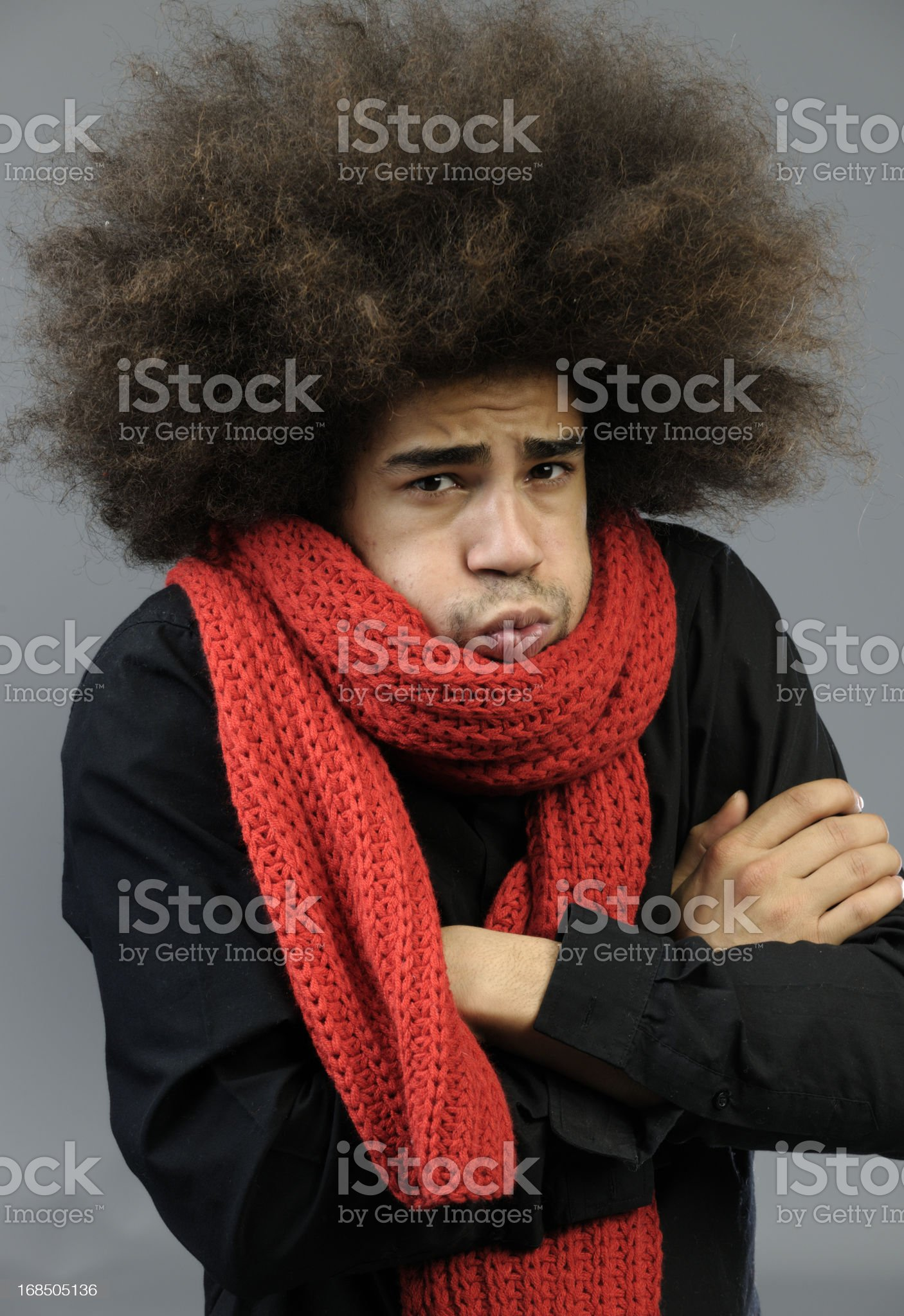 shivering funky man with big red wool shawl royalty-free stock photo