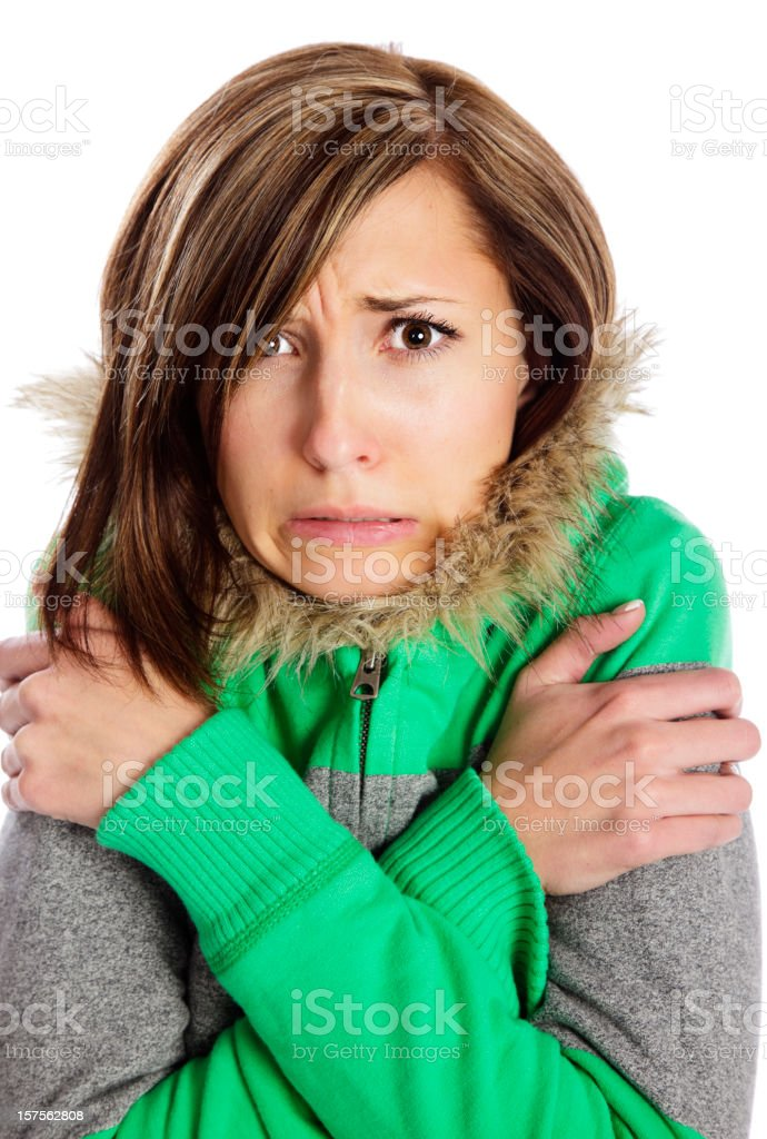 Shivering Young Woman stock photo