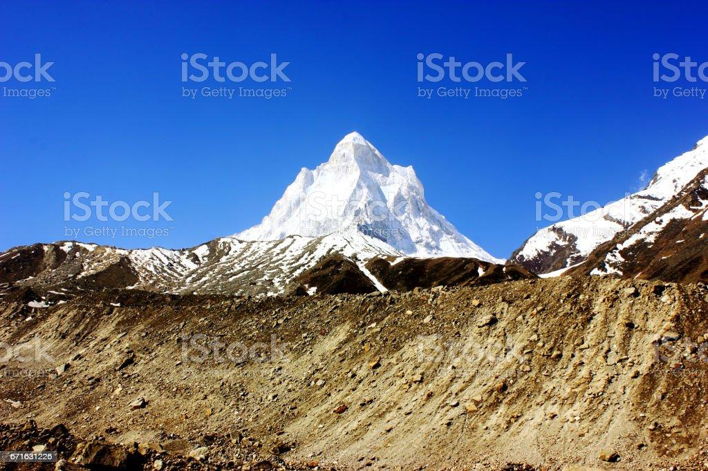 Shivling mountain peak in Himalaya stock photo