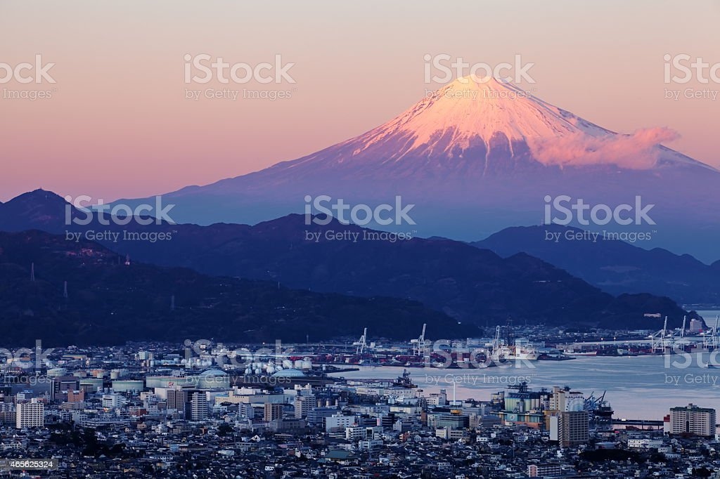 Shizuoka city town and Mountain Fuji at sunset stock photo